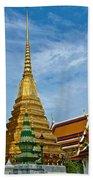 The Golden Chedis At Grand Palace Of Thailand In Bangkok Bath Towel