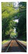The Green Line Railroad Track Art Bath Towel
