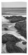 The Jagged Rocks And Cliffs Of Montana De Oro State Park In California In Black And White Bath Towel