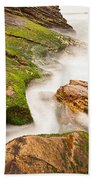 The Jagged Rocks And Cliffs Of Montana De Oro State Park In California Bath Towel