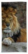The Lion Digital Art Bath Towel