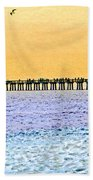 The Long Pier - Art By Sharon Cummings Bath Towel