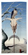 The Neolithic Totem Oil On Canvas Bath Towel