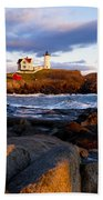 The Nubble Lighthouse Bath Towel