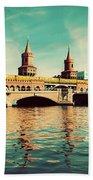 The Oberbaum Bridge In Berlin Germany Hand Towel