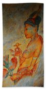 The Ode For The Women Beauty. Sigiriyan Lady With Flowers. Sigiriya. Sri Lanka Bath Towel by Jenny Rainbow