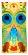 The Owl - Abstract Bird Art By Sharon Cummings Bath Towel