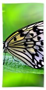 The Paper Kite Or Rice Paper Or Large Tree Nymph Butterfly Also Known As Idea Leuconoe 2 Bath Towel