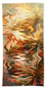 Gray And Orange Peaceful Abstract Art Bath Towel