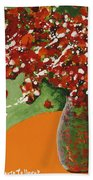 The Red And Green Vase Bath Towel