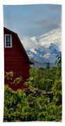 The Red Barn And Mt. Hood Bath Towel