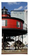 The Red Beacon From Baltimore Harbor Bath Towel