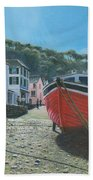 The Red Boat Polperro Corwall Bath Towel