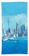 The Regatta Sydney Habour By Jan Matson Bath Towel