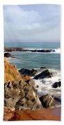 The Rocky Coastline Meets The Ocean Bath Towel