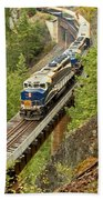 The Rocky Mountaineer Above The Cheakamus River Bath Towel