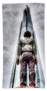 The Shard And Man Statue Bath Towel