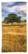 The Solitary Farm Tree Bath Towel