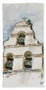 The Three-bell Campanario At Mission San Juan Bautista  Hand Towel