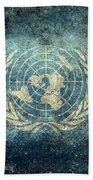The United Nations Flag  Vintage Version Bath Towel