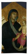 The Virgin And Child With Six Angels Bath Towel