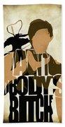 The Walking Dead Inspired Daryl Dixon Typographic Artwork Bath Towel