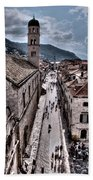 The White Tower In The Stradun From The Ramparts Bath Towel