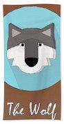 The Wolf Cute Portrait Bath Towel