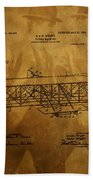 The Wright Brothers Airplane Patent Bath Towel