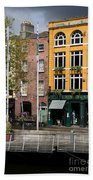 The Yellow House At The Liffey River - Dublin - Ireland Bath Towel