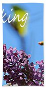 Thinking Of You - Greeting Card - Lilacs Bath Towel