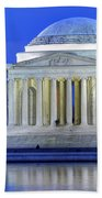 Thomas Jefferson Memorial At Night Reflected In Tidal Basin Bath Towel