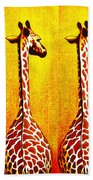 Three Amigos Giraffes Looking Back Bath Towel