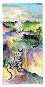Three Cats On The Penon De Ifach Bath Towel