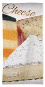 Three Cheese Wedges Distressed Text Bath Towel