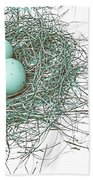 Three Eggs In A Nest Teal Brown Bath Towel