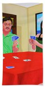 Three Men And A Lady Playing Cards Bath Towel