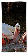 Three Pelicans And A Fish Bath Towel