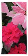 Three Pink Poinsettias Bath Towel