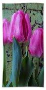 Three Pink Tulips Bath Towel