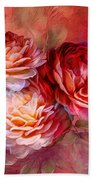 Three Roses Red Greeting Card Bath Towel