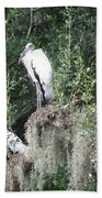 Three Wood Storks Bath Towel