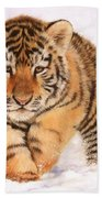 Tiger Cub In Snow Painting Bath Towel by David Stribbling