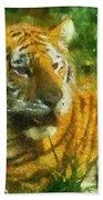 Tiger Resting Photo Art 02 Bath Towel