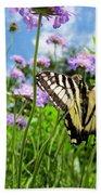 Tiger Swallowtail On Pincushion Flowers Bath Towel