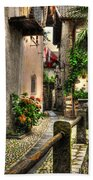 Tight Alley With Palm Trees Bath Towel
