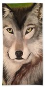Timber Wolf In Summer Bath Towel