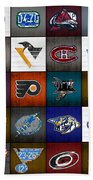 Time To Lace Up The Skates Recycled Vintage Hockey League Team Logos License Plate Art Bath Towel