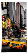 Times Square Taxis Bath Towel
