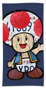 Toad From Mario Brothers Nintendo Original Vintage Recycled License Plate Art Portrait Hand Towel